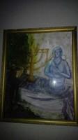 Schéner  Mihály - Csendélet menórával és szoborral (?) -olajfestmény, 1 forintos aukción.