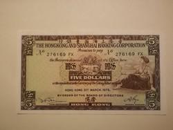 Hong Kong 5 $ UNC 1975