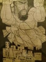 KASS JÁNOS (1927 -2010) :Szuggesztív alkotása az Ótestamentumból keretben üveggel