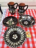 5 db Díszes Meseszép Hódmezővásárhelyi vásárhelyi mázas kerámia népi - tál -tányér - kiöntő falidísz