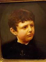 Barabás Miklós (1810-1898) :Gyermek portré  gyönyörű darab 40 X 35 cm