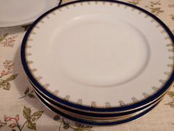 Antik osztrák tányérok elegáns kobalt-arany mintával, 24 cm átmérővel. Ritka darabok!