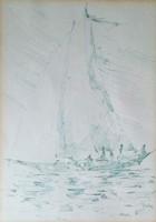 Győrfi András - Vitorlás 28 x 20 cm toll, papír
