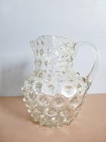 Antik bütykös fújt üveg,szakított üveg keresztelő kancsó