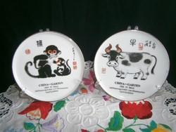 2 db jelzett kínai horoszkópos tányér 14 cm átmérő