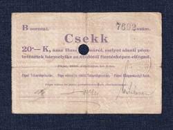 Magyarország Csekk 20 Koronáról 1919 Pápa szükségpénz B sorozat 1919 / id 16637/