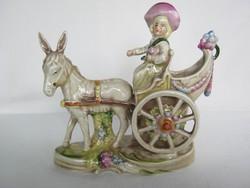 Német porcelán barokk csacsi fogatos fiú