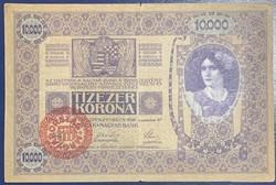 10.000 korona 1918 Magyar bélyegzéssel! Szép állapotban!