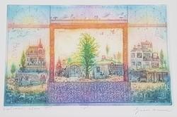 Gross Arnold -  Kertvárosi álom III. 22 x 33 cm színezett rézkarc