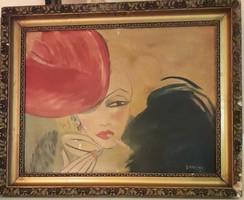 Vaszary: Cigarettázó hölgy piros fejdísszel