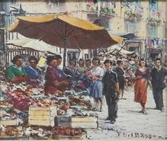 Ferdinando Del Basso 1897-1971 Nápolyi piac