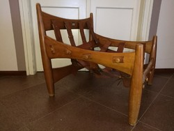Mid Century extra fotel brazil fa bőrrel