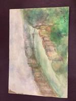 Czóbel jelzéssel: Kilátás a városra. Akvarell, papír, 24×34 cm