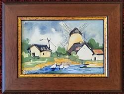*****Fehér Margit: A MALOMVÉGEN - tűzzománc festmény*****