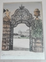 Szignózott bécsi rézkarc vászon nyomata, 18,5 x 25 cm