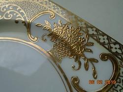 NORITAKE luxus japán porcelán,aranybrokát virágkosár mintával 16,2x16,2x1,5 cm