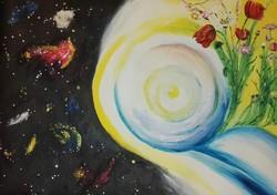 Galaxis kert akril festmény