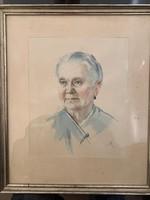 Éless István, Idős hölgy akvarell 40,5 X 47,5 cm álló!