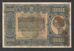 Százezer korona 1923.  Barna sorozat, és aránylag, alacsony sorszám!!  SZÉP, RITKA BANKJEGY!!