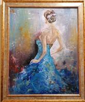 Kék kecsesség-impasztós akril festmény