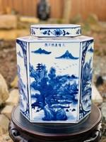 Kézzel festett, máz alatti kék kínai tealevél tartó porcelán, japán, keleti