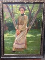 Uferbach Jenő : Hölgy a kertben
