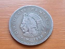 MEXIKÓ MEXICO 50 CENTAVOS 1956 BRONZ Tenochtitlan Cuauhtemoc #