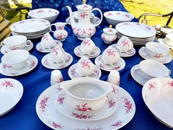 Német purpur mintás étkészlet és teáskészlet
