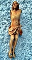 28. Antik, ELEFÁNTCSONT Jézus Krisztus torzó 11 cm, falra akasztható kivitel. ~ 320 éves.