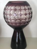 Retro üveg gömbváza lila színben, hántolt pöttyökkel, Harzkristall, Marita Voigt tervezés