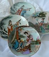 Különleges kínai jelenetes tányér, dísztányér  4 db egyben