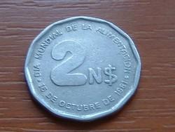 URUGUAY 2 NUEVO PESOS 1981 F.A.O. 73-67% copper,nickel, zinc #