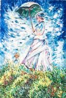 """Hepp Natália: Oscar-Claude Monet után """"Woman with a parasol"""""""