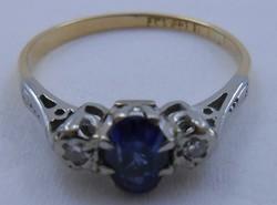 18 kt antik arany-platina gyűrű gyémánt és zafír arany gyűrű