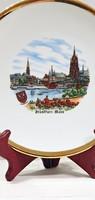 Gyönyörű német, porcelán tányér, Frankfurti városképpel.