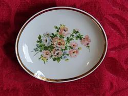 Hollóházi, 12 x 10,5 cm.-es, hibátlan porcelán tányérka.