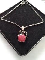 Szép csiszolt rubin-gránát köves ezüst medál +nyaklánc /ingyenes posta /
