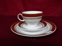 KAHLA minőségi német porcelán teáscsésze + alátét + süteményes tányér, vitrin minőség.
