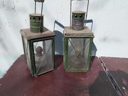 Régi vasútas petróleum lámpa pár.