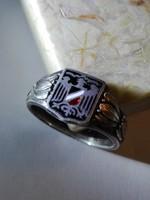 Világháborús német zománcos ezüst gyűrű, patrióta gyűrű, Patriotischer Fingerring 1914 -1916 Silber.