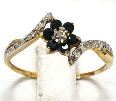 Tömör 10k arany gyémánt gyűrű zafír kővel