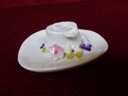 Német minőségi porcelán virágmintás kalap, mérete: 7,5 x 6,5 x 2 cm.