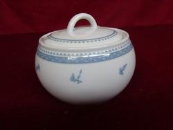 Alföldi porcelán cukortartó, kék mintával, átmérője 10 cm.