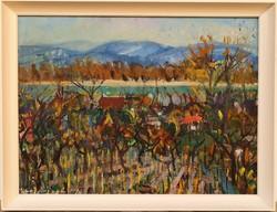 Uhrig Zsigmond (1919 - 1993) Dunakanyar c. Képcsarnokos olajfestmény 86x66cm EREDETI GARANCIÁVAL !