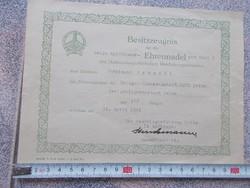 WW2,Tanusitvany eredti  Német katonai Kyffhauser medal
