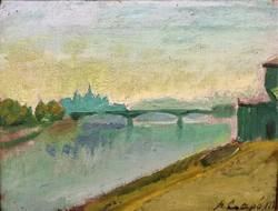 Szabó Csapó Márton ( 1889-1953 ) Budapest Margit híd 1939 olajfestménye EREDETI GARANCIÁVAL !!!