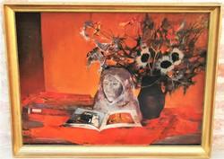 Somogyi-Soma László (1927 - 2004) Csendélet Képcsarnokos olajfestmény 86x66cm EREDETI GARANCIÁVAL !