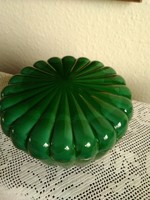 Malachit üvegből bonbonier, nagyon ritka formájú!