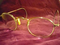 Régi szemüveg, rugós szárral,  lencsével