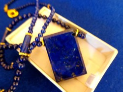 Természetes LAPIS lazuli   szögletes medállal különleges   ásvány nyaklánc